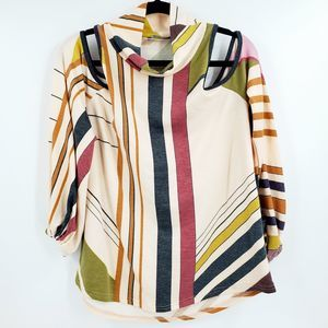 AnnaBelle Striped Geometric Scoop Neck Blouse